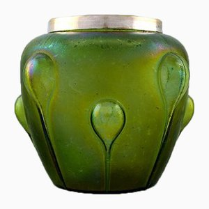 Art Nouveau Iridescent Art Glass Vase with Silver Edge from Lötz