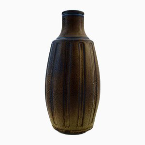 Vaso grande vintage in gres di Wilhelm Kåge per Gustavsberg