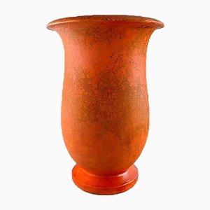 Dänische Vintage Art Deco Vase aus Orange glasiertem Steingut von Svend Hammershøi für Kähler, 1930er