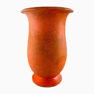 Vintage Art Deco Danish Orange Glazed Stoneware Vase by Svend Hammershøi for Kähler, 1930s