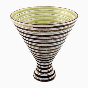 Jarrón sueco de cerámica pintado a mano de Stig Lindberg para Gustavsberg, años 50