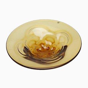 Vintage Amber Art Glass Bowl by Lars Hellsten for Orrefors