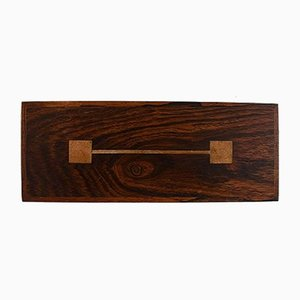 Rosewood Box with Inlaid Silver by Hans Hansen, 1960s