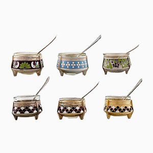 Vintage Russian Enameled Salt Jars with Glass Inserts, Set of 6