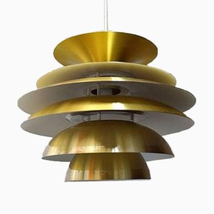 Colored Aluminum & Brass Verona Pendant by Svend Middelboe for Nordisk Solar, 1970s