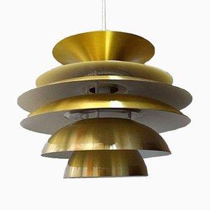 Lampada a sospensione Verona in alluminio e ottone di Svend Middelboe per Nordisk Solar, anni '70