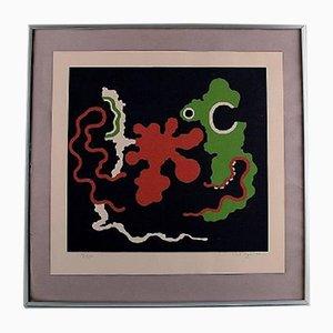 Abstrakte Lithografie von Poul Agger, 1970er
