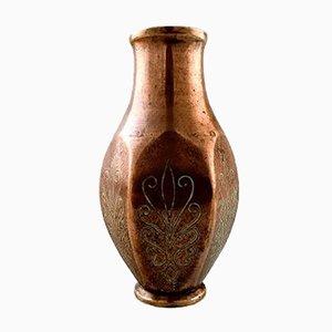 Patinierte Art Deco Vasen aus Bronze von Tinos, 1930er, 2er Set