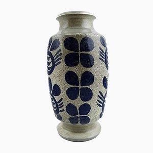 Vase aus Keramik mit dunkelblauer Dekoration & grauem Fuß von Göran Andersson für Upsala Ekeby, 1950er