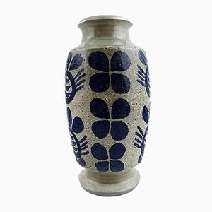 Vase en Céramique avec Décoration Bleu Foncé & Socle Gris par Göran Andersson pour Upsala Ekeby, 1950s