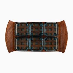 Vintage Tablett aus Teakholz mit sechs Behältern von Jens Harald Quistgaard
