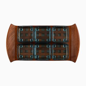Vintage Teak Tray with Six Containers by Jens Harald Quistgaard