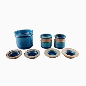 Glazed Stoneware Vase and Small Bowls Set by Nils Kähler for Kähler, 1960s