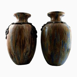 Large French Art Deco Floor Vases by Roger Guerin, Set of 2