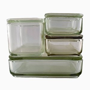 Bauhaus Pressed Glass Kubus Modular Boxes by Wilhelm Wagenfeld, 1930s, Set of 6