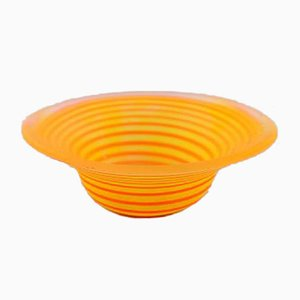 Vintage Swedish Yellow Art Glass Bowl by Gunnel Sahlin for Kosta Boda Atellier