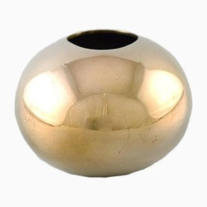 Vintage Danish Egg-Shaped Brass Ashtray by Hans Bunde for Cohr