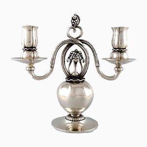 Dänische silberne Kerzenständer mit zwei Leuchten von Georg Jensen, 2er Set
