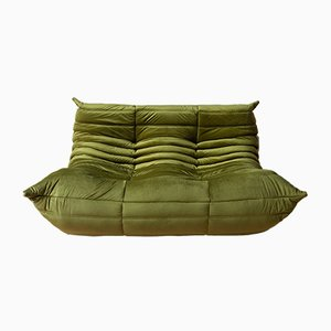 Green Velvet Togo 2-Seater Sofa by Michel Ducaroy for Ligne Roset, 1970s