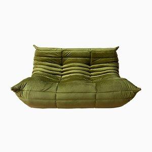 Grünes Togo 2-Sitzer Sofa aus Samt von Michel Ducaroy für Ligne Roset, 1970er