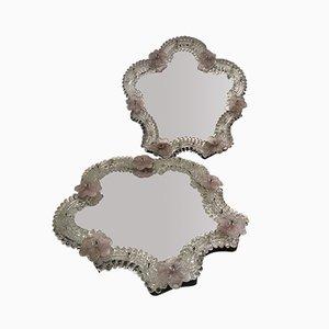 Italienische Mid-Century Spiegel aus Muranoglas, 2er Set