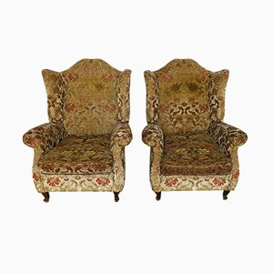 Mid-Century Italian Fabric and Wood Armchairs, 1960s, Set of 2