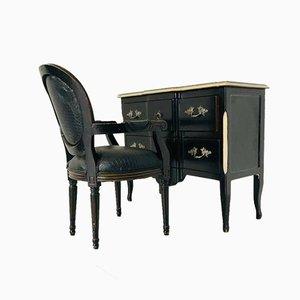 Art Deco Italian Dresser and Chair Set, 1980s