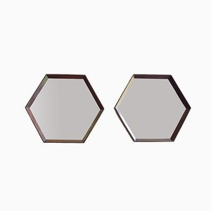 Hexagonal Italian Wooden Framed Mirrors, 1950s, Set of 2