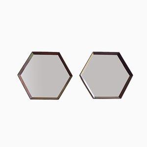 Sechseckige italienische Spiegel mit Holzrahmen, 1950er, 2er Set
