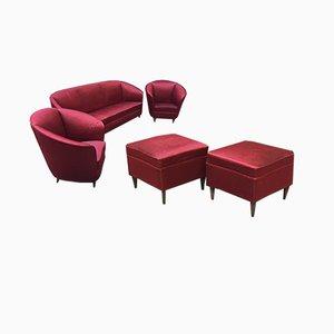 Italienisches Wohnzimmer Set aus Seide von Ico & Luisa Parisi für Ariberto Colombo, 1950er