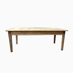Table de Ferme Rustique Antique en Sapin et Noyer