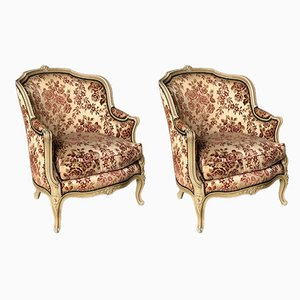 Antique French Wooden Bergere Armchairs, Set of 2