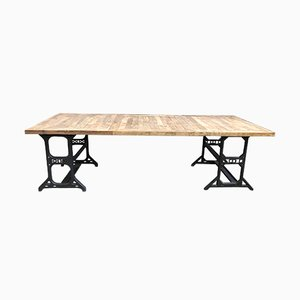 Industrial Metal and Oak Dining Table, 1970s