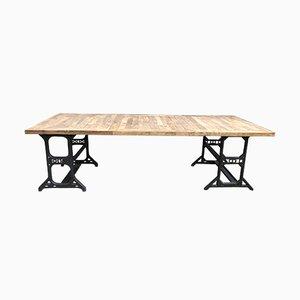 Tavolo da pranzo industriale in metallo e quercia, anni '70