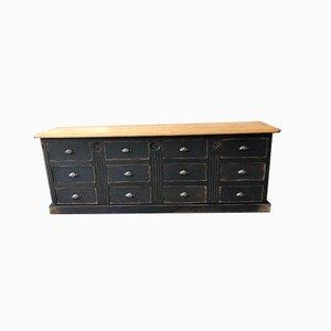 Mid-Century Industrial Oak 12 Drawer Cabinet, 1950s
