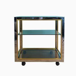 Italian Chrome & Glass Trolley by Renato Zevi for Romeo Rega, 1970s