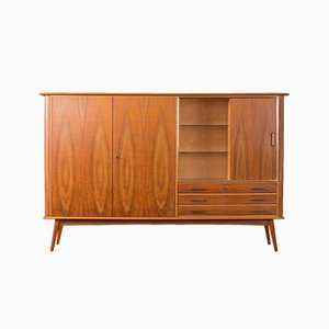 German Walnut Veneer & Glass Sideboard, 1950s