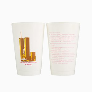 Vintage Plastic World Trade Center Cups, Set of 2