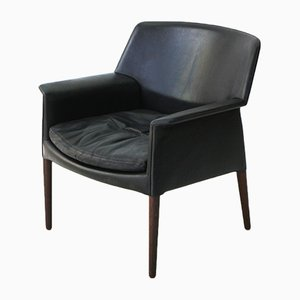 Danish Leather & Rosewood Lounge Chair by A.B. Madsen & E. Larsen, 1960s
