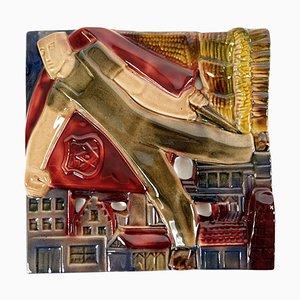 Azulejo mural vintage de cerámica con relieve de René Boschman para Coescoram