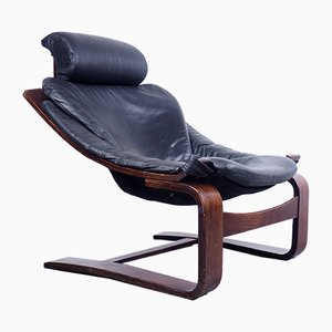 Swedish Leather Kroken Lounge Chair by Åke Fribytter for Nelo Möbel, 1970s
