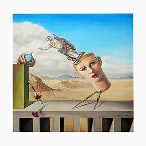 Surrealistisches Gemälde eines stilisierten Kopfes von K. Mitovski, 1993