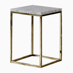 Solo Terrazzo Garda Säulentisch aus Messing von Un'common