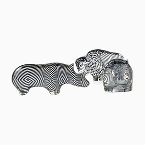 Hippo, Rhino and Buffalo Figurines Set by Abraham Palatnik, 1970s