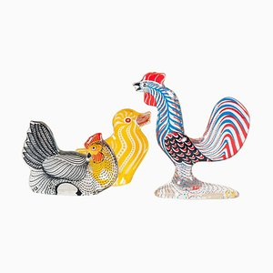 Rooster, Chicken, & Chick Figurine Set by Abraham Palatnik, 1970s