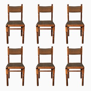 Czech Oak Dining Chairs from Drevounia, 1980s, Set of 6