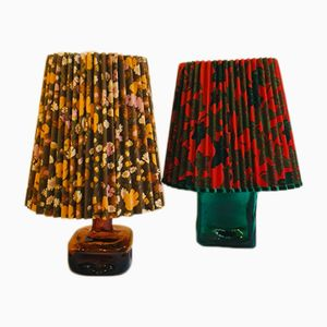German Colored Glass Table Lamps, 1960s, Set of 2