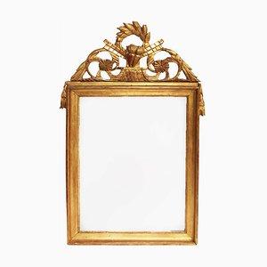 Espejo francés estilo Imperio antiguo de madera dorada
