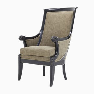 19th-Century French Ebonized & Carved Wooden Armchair