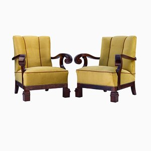 Antique Art Nouveau Carved Walnut Armchairs, Set of 2